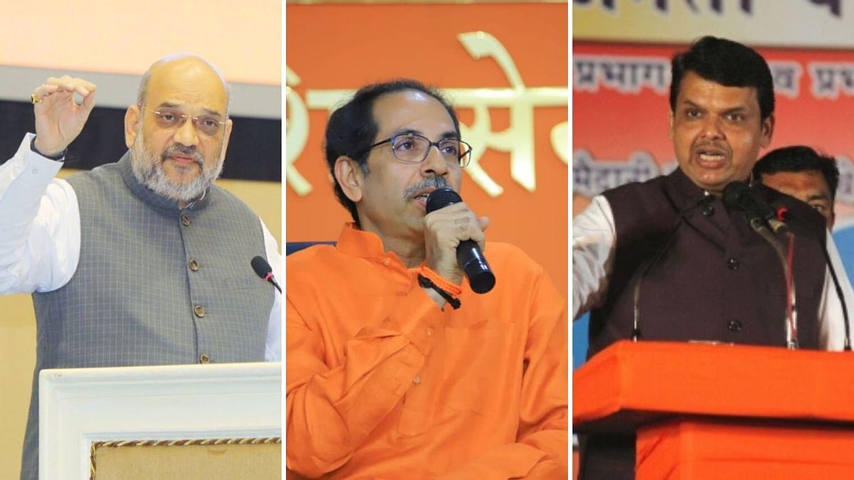 From left to right: BJP President Amit Shah, Shiv Sena Chief Uddhav Thackeray and Maharashtra Chief Minister Devendra Fadnavis.