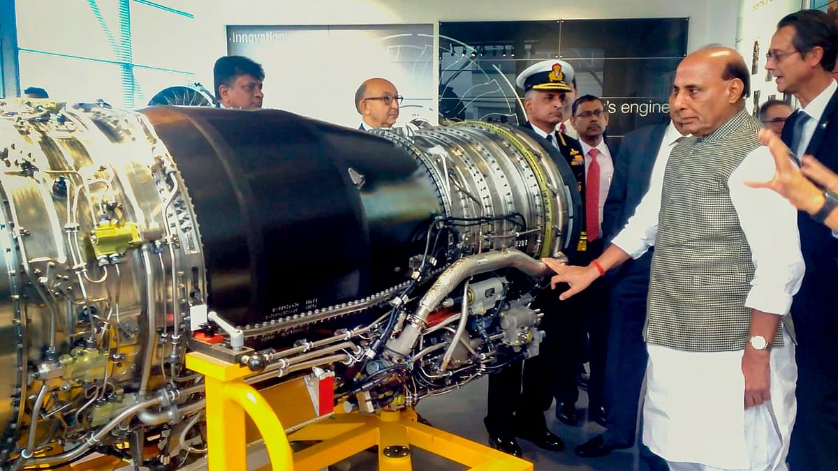 Defence Minister Rajnath Singh visits SAFRAN - the engine making facility for Rafale fighter jet, in Paris.