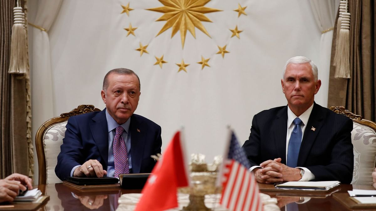Vice President Mike Pence (right) with Turkish President Recep Tayyip Erdogan (left).