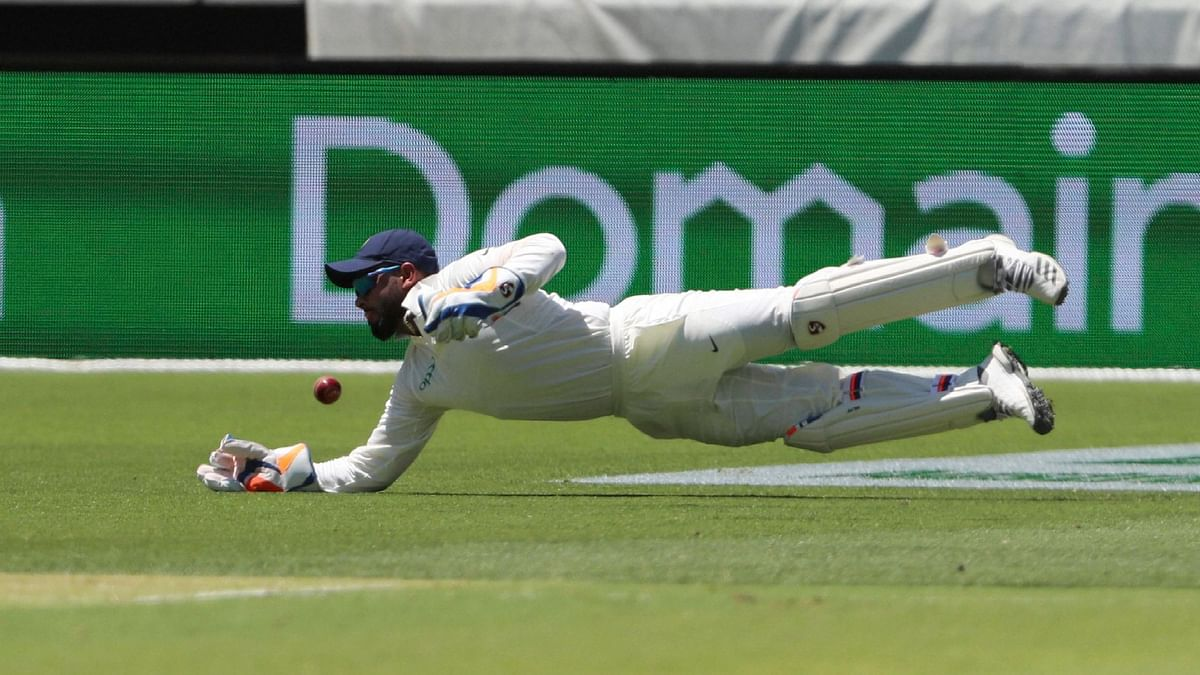 File picture of Rishabh Pant diving for a ball in Perth, Australia.