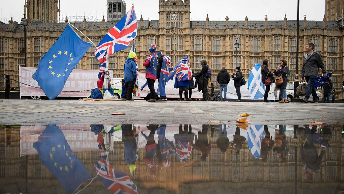 Anti Brexit demonstrators protest outside the Houses of Parliament in London Thursday 6 Dec 2018. Image used for representation.