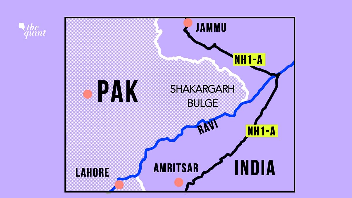 A map of the Shakargarh Bulge, where the battle took place (Not to scale).