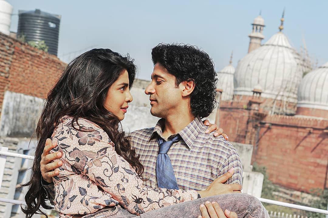Priyanka Chopra and Farhan Akhtar in a still from <i>The Sky is Pink</i>.