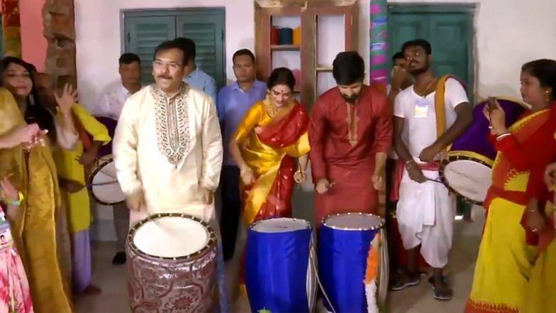 Watch: TMC MP Nusrat Jahan Plays 'Dhaak' on Durga Mahashtami