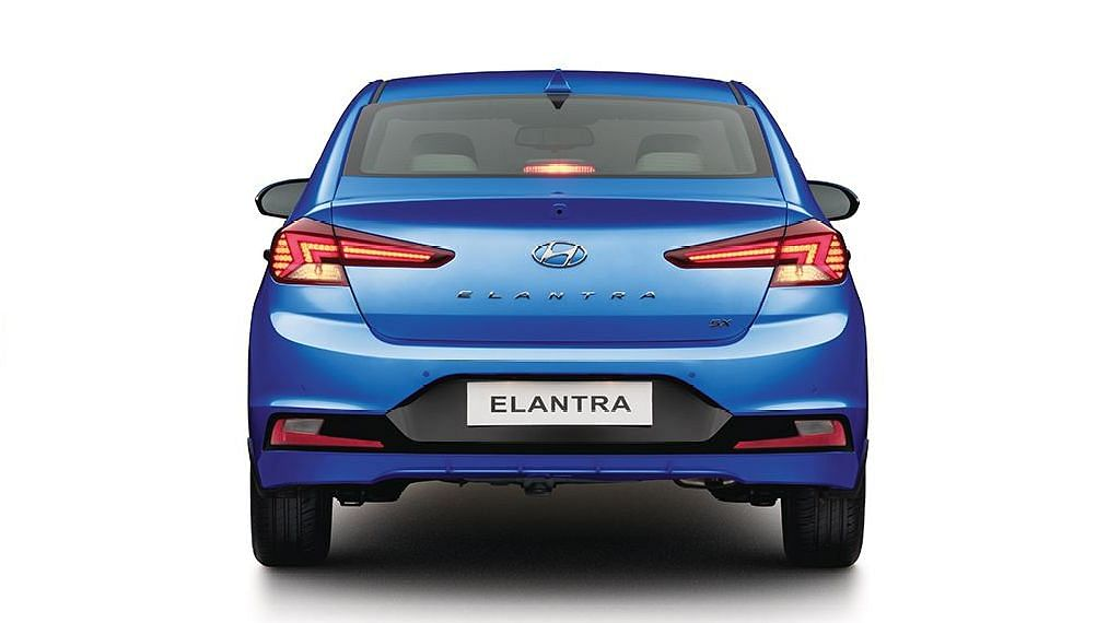 The rear of the Elantra follows the Hyundai family look, but with sharper lines.