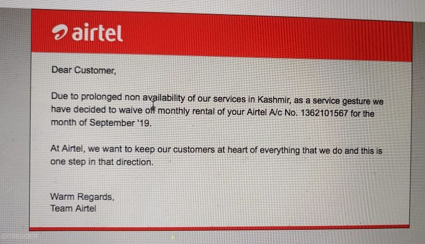 Shayan Nabi, a resident of Baramullah, said Airtel had waived his bill for the month of September after he wrote an e-mail protesting against the charge.