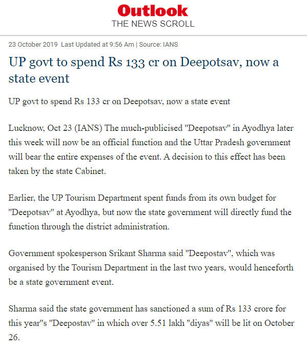 Media Misreports UP Govt's Deepotsav Budget as Rs 133 Crore