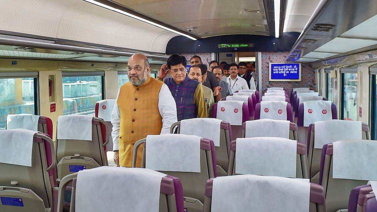Union Home Minister Amit Shah inside a coach of the semi -high-speed train Vande Bharat Express  at New Delhi Railway Station, 3 October, 2019.