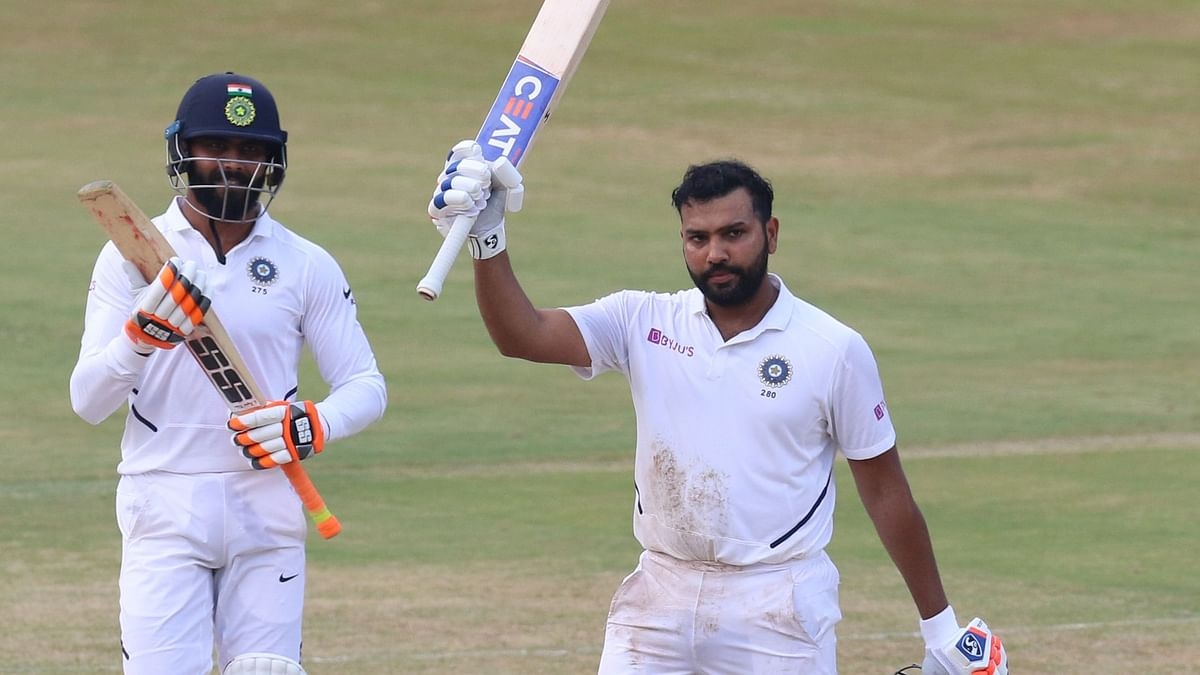 Rohit Sharma of India celebrates his Hundred runs during day 4 of the first test match between India and South Africa held at the ACA-VDCA Stadium, Visakhapatnam, India on the 5th October 2019