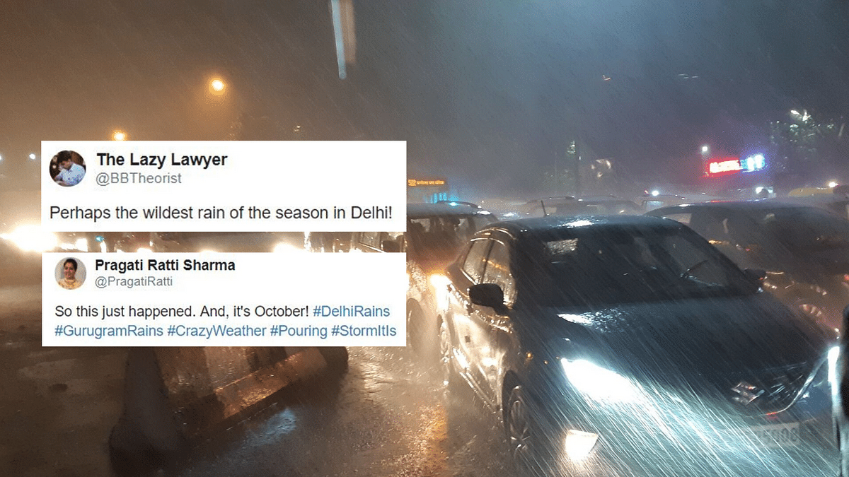 Many took to Twitter to share pictures of heavy rain which lashed NCR on Thursday, 3 October.