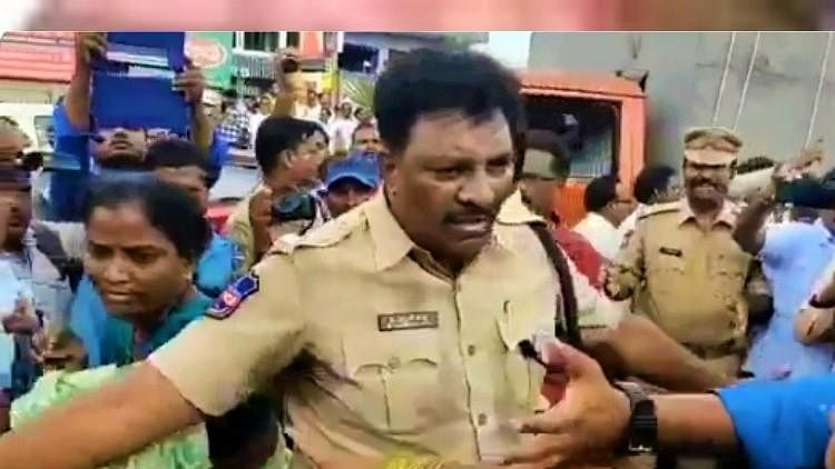 TSRTC Strike: Video of Woman's Sari Held By Male Cop Sparks Row