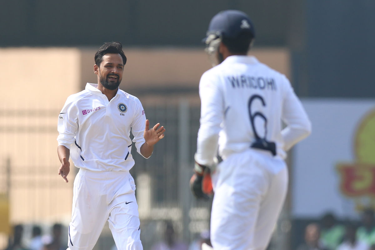 Shahbaz Nadeem of India celebrates the wicket of Theunis de Bruyn of South Africa during day four of the third test match between India and South Africa held at the JSCA International Stadium Complex, Ranchi India on the 22nd October 2019