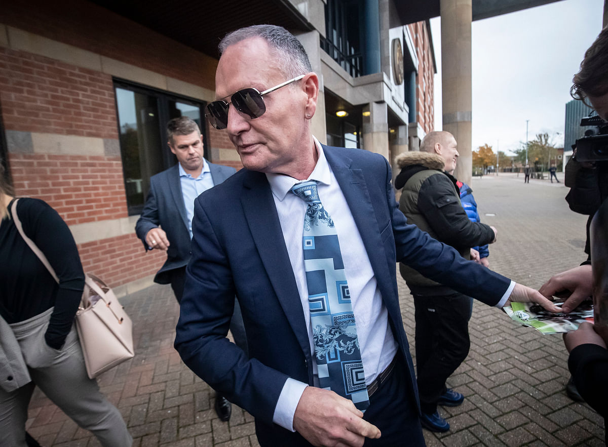 Former England footballer Paul Gascoigne leaves Teesside Crown Court in Middlesbrough where he appeared on charges of sexually assaulting a woman on a train, Monday Oct. 14, 2019.