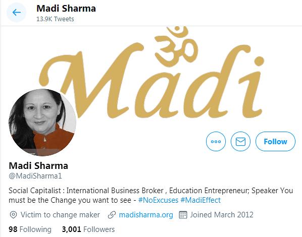 """Madi Sharma's Twitter bio describes her as an """"International Business Broker""""."""