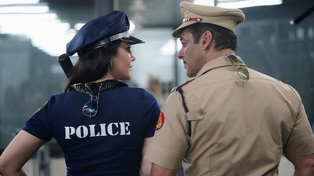 Preity Zinta and Salman Khan on the sets of <i>Dabangg 3.</i>
