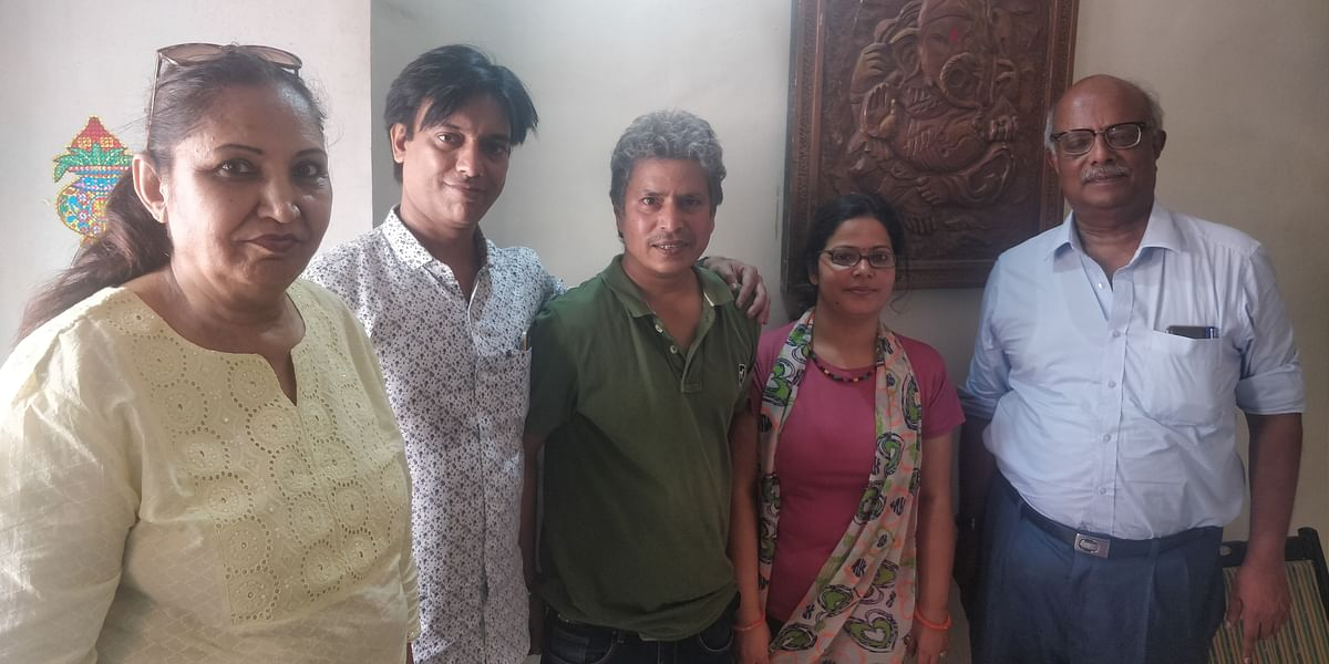 Vishwa Bhanu and his wife Priyanka flanked by the three members of the Jaago Hindu Family who visited their residence on Monday morning.