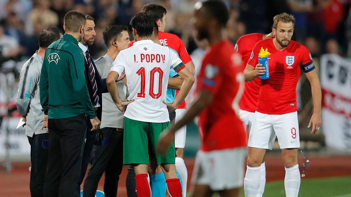 Bulgaria lost to England 6-0 in a European Championship qualifying game that was halted twice due to racist behaviour from fans.