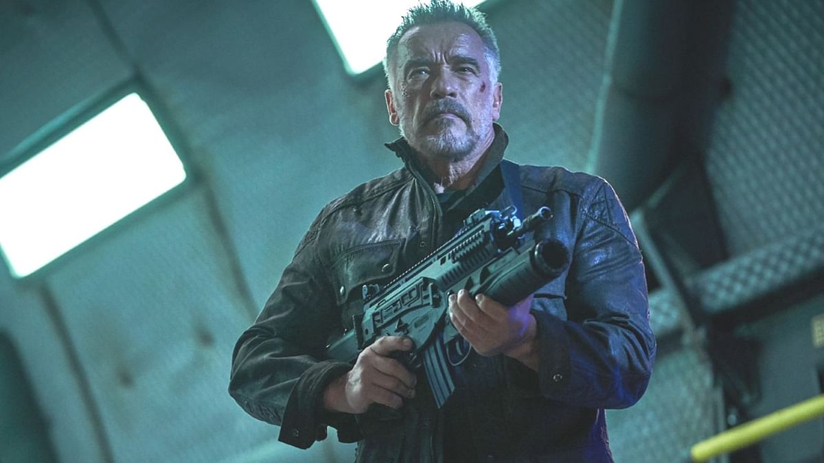 Arnold Schwarzenegger lends his support to the three main female protagonists in <i>Terminator: Dark Fate.</i>