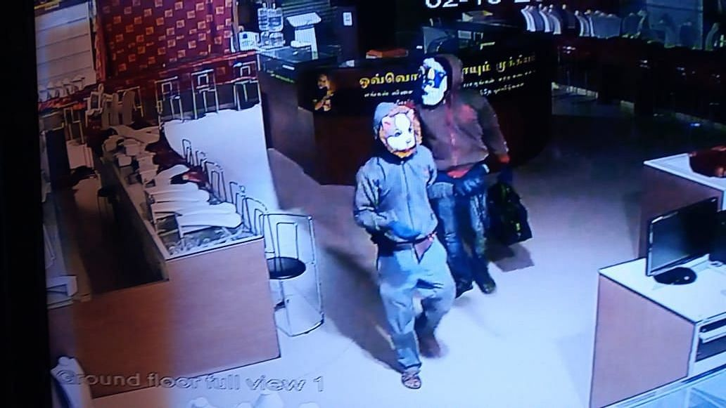 Jewellery worth crores of rupees was robbed from a popular store, Lalitha Jewellers, in Trichy, Tamil Nadu on Tuesday by two men, wearing cat and dog masks.