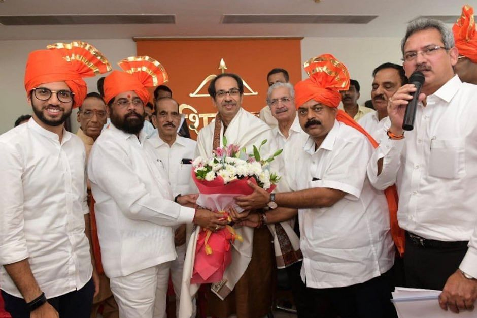 Party leaders meet Uddhav Thackeray at the meeting with MLAs.
