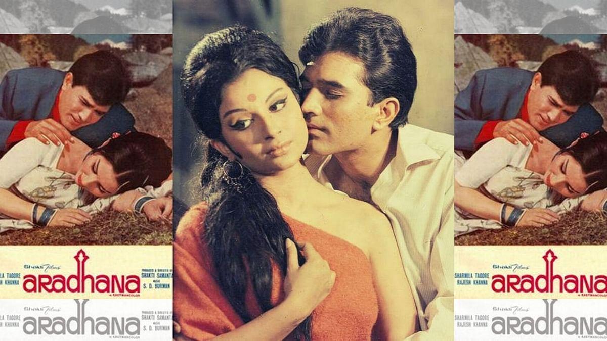 Rajesh Khanna and Sharmila Tagore in <i>Aradhana.</i>