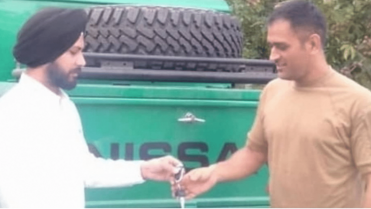 MS Dhoni with his new jeep.