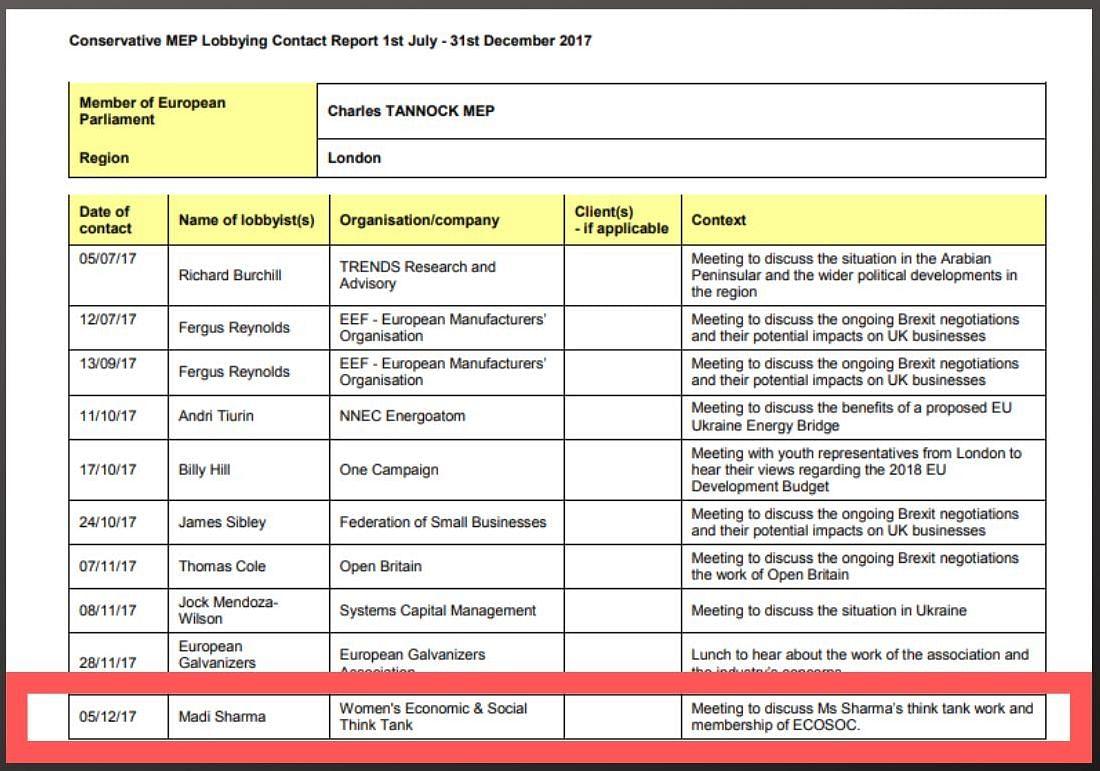 Madi Sharma listed as a lobbyist to MEP Charles Tannock.