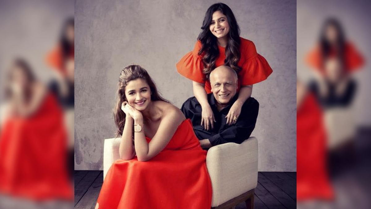Alia Bhatt and Shaheen Bhatt with their father Mahesh Bhatt.