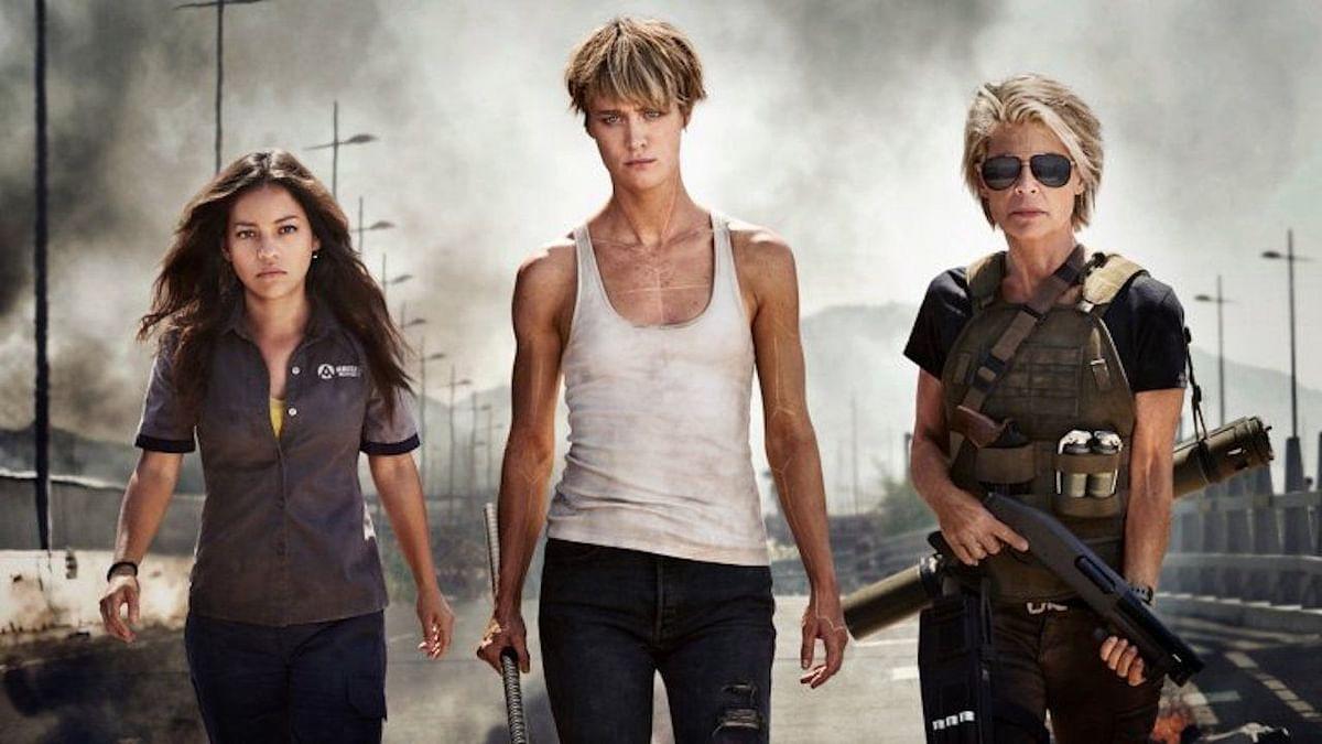 Natalia Reyes, Mackenzie Davis and Linda Hamilton in <i>Terminator: Dark Fate</i>.