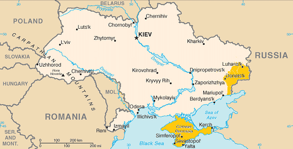 A map of Ukraine – shaded areas are territory Russia has claimed.