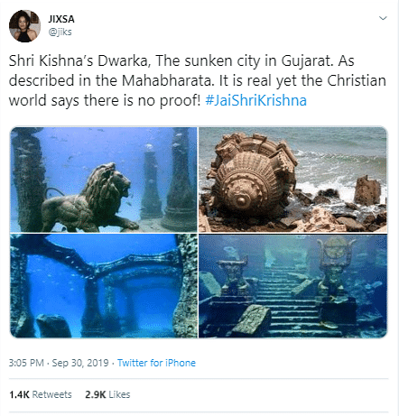 The screenshot of the tweet with the four photos.