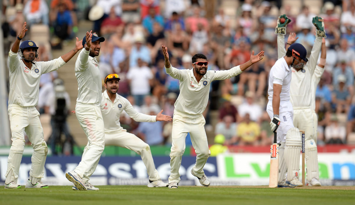 Ravindra Jadeja appeals as he dismisses England's Alastair Cook for 95 runs during the third test on 27 July 27, 2014.