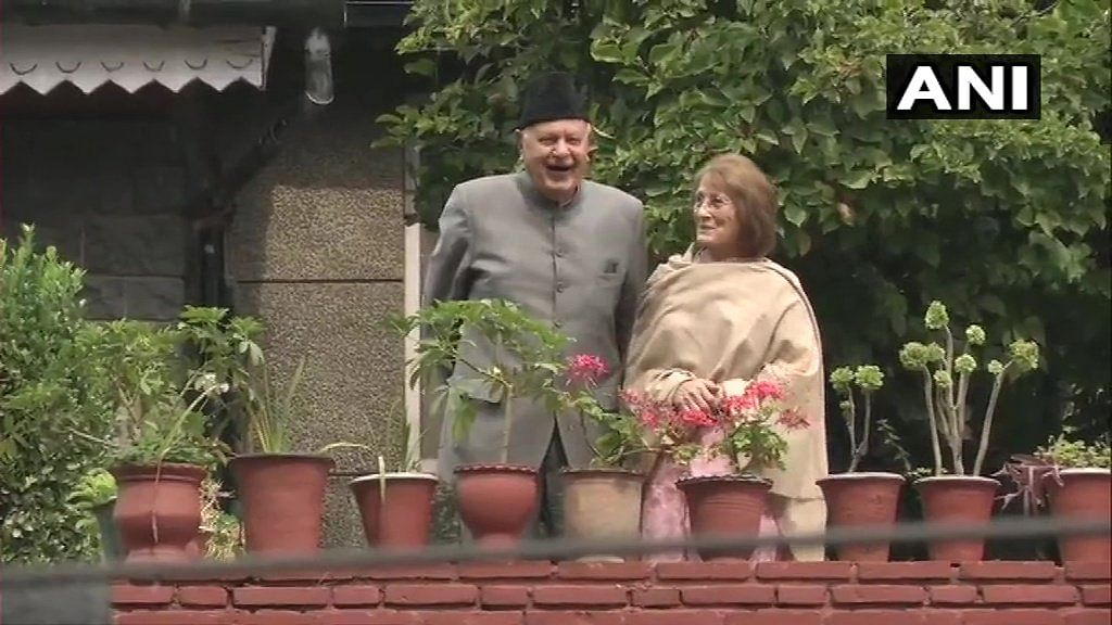 Farooq Abdullah and wife Molly at their Srinagar residence.