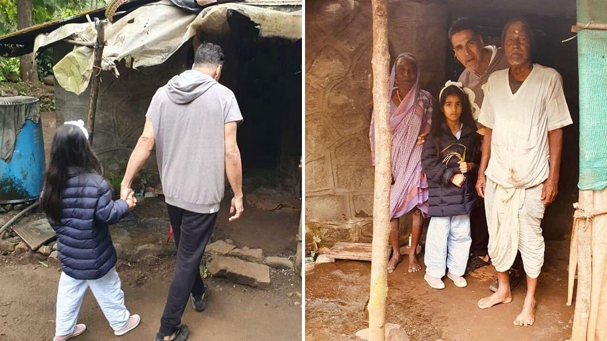 Akshay Kumar and his daughter Nitara takes a morning walk.