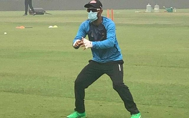 Bangladesh's Liton Das at the practice session in New Delhi on Friday.