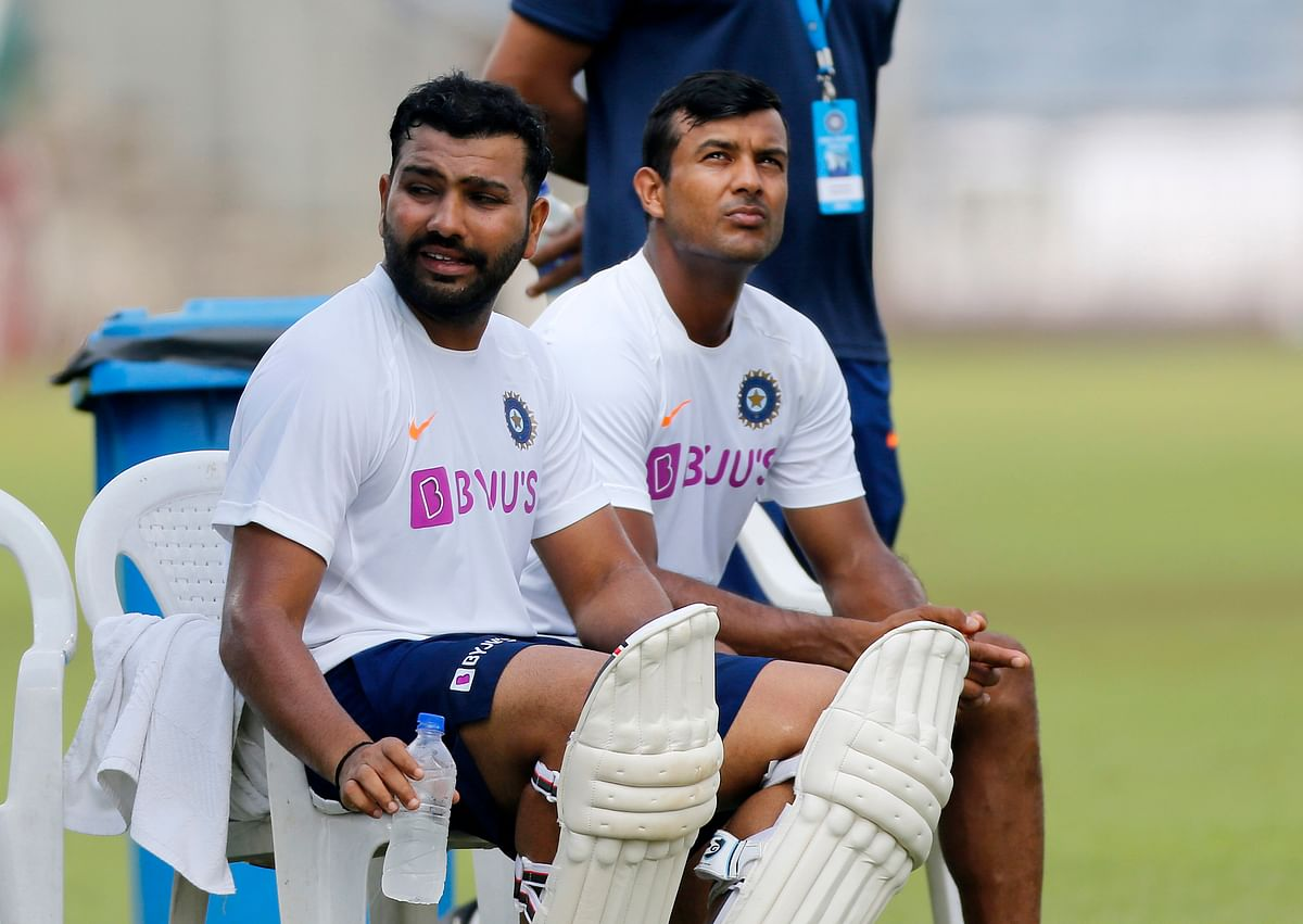 Indian cricketer Rohit Sharma, left, and Mayank Agarwal attend a practice session ahead of the second Test match.