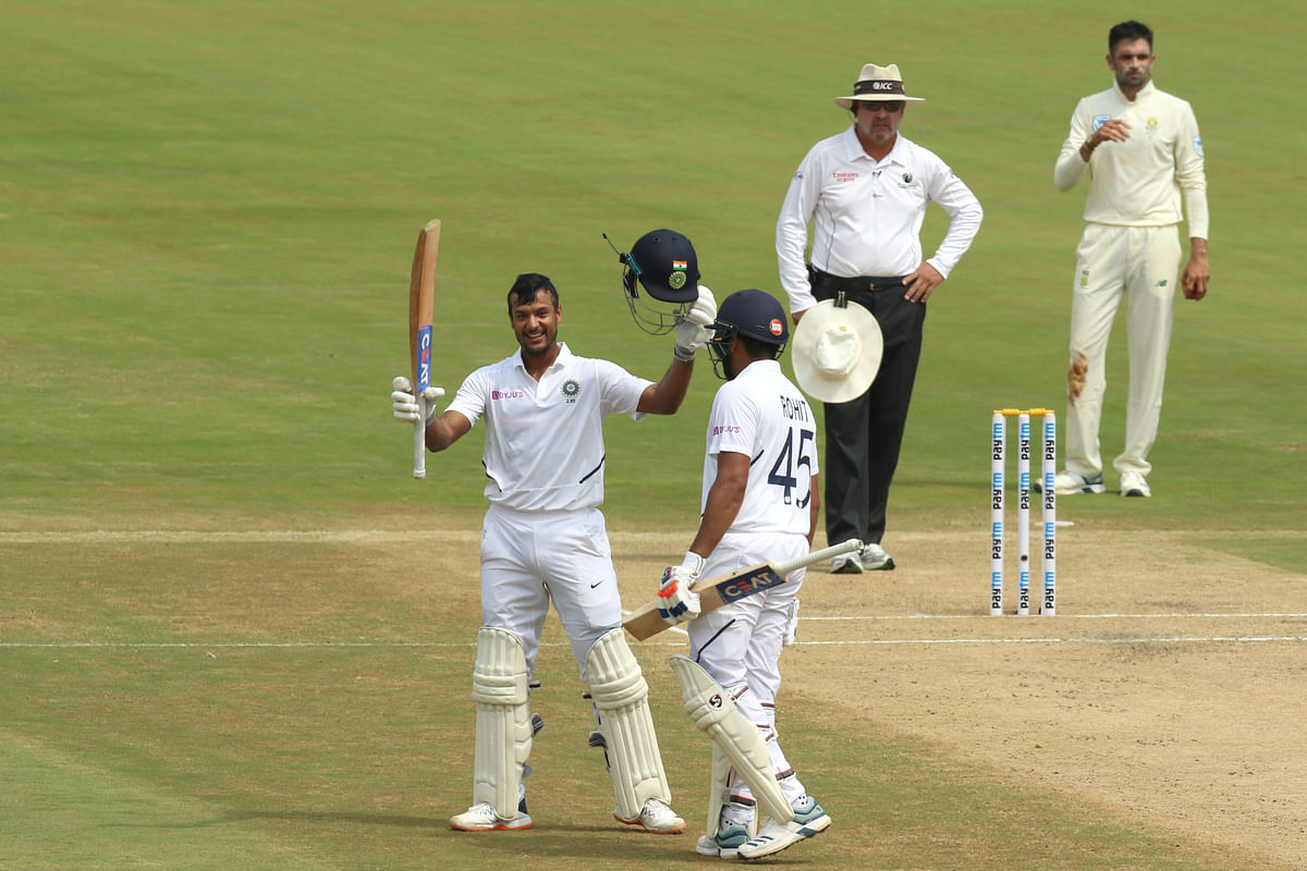 Mayank Agarwal, who is playing his first Test in India, collected 16 fours and three sixes.
