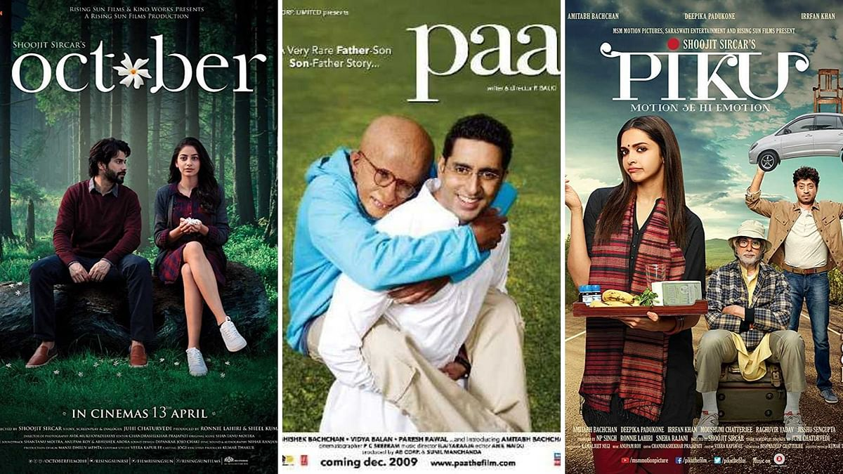 Posters of films <i>October, Paa, Piku.</i>