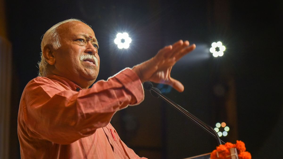 RSS Chief Mohan Bhagwat speaks at an event.