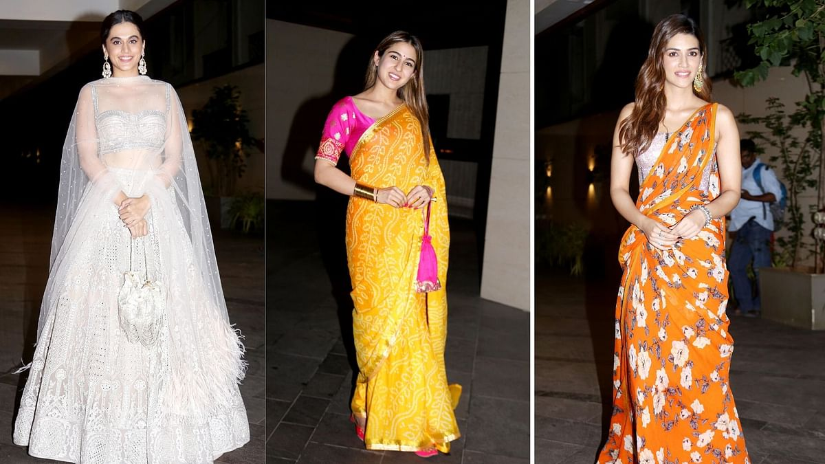 Pics: Taapsee, Sara, Kriti Dressed in Their Ethnic Best for Diwali