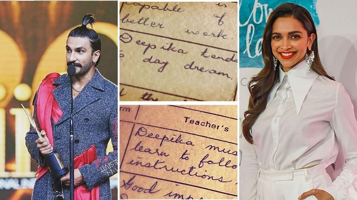 Ranveer's comments on Deepika's school report cards are hilarious.