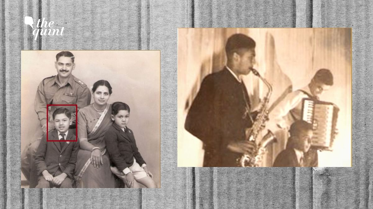 Arun Khetarpal with his family (left) and at the Lawrence School (playing the saxophone).