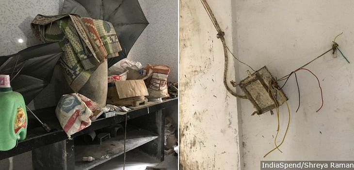 The house allocated to Rohit Shinde* in C block is under repair. The kitchen counter (left) holds the construction material and there is no electricity connection (right).