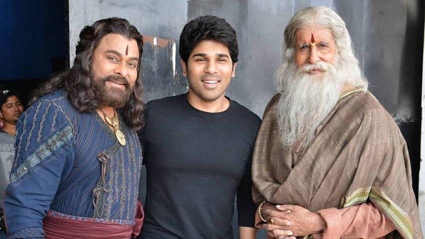 Chiranjeevi, Allu Sirish and Amitabh Bachchan on the sets of Sye Raa Narasimha Reddy.