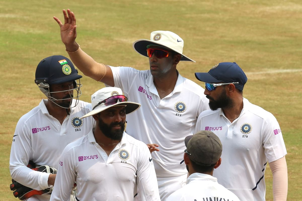 Ravichandran Ashwin celebrates the wicket of Kagiso Rabada of South Africa during day 4 of the first test match between India and South Africa held at the ACA-VDCA Stadium, Visakhapatnam.