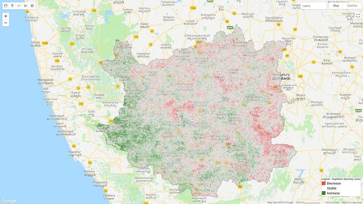 Vegetation anomaly in June 2019.