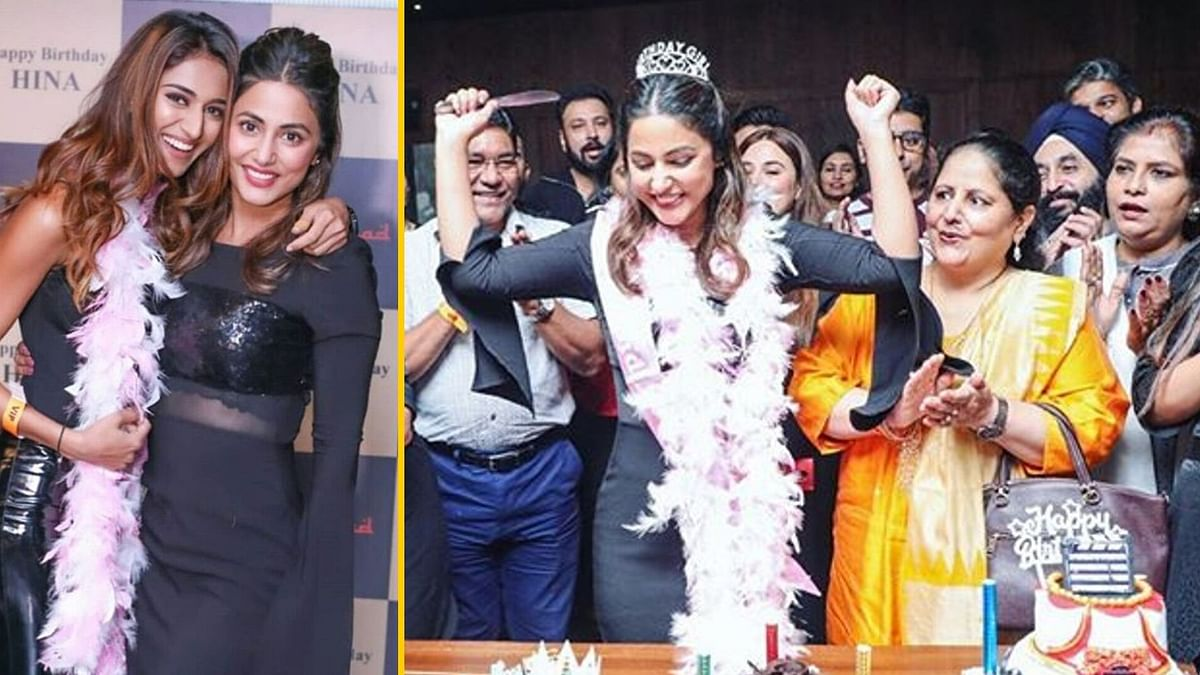 Hina Khan rings in her birthday with family and friends.