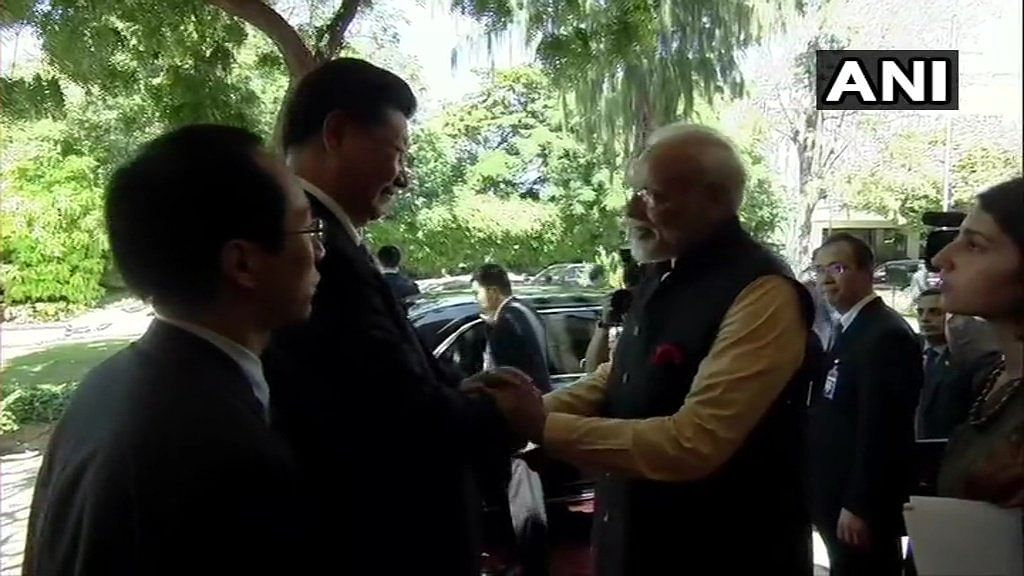 Prime Minister Narendra Modi and Chinese President Xi Jinping at the end of the second informal meet between the two countries.