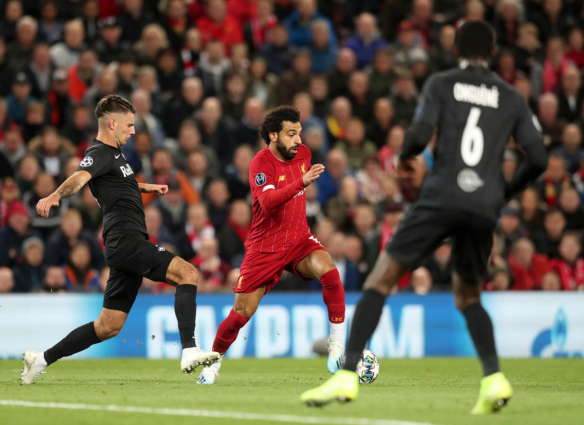 Salah regained the lead for Liverpool by running onto Roberto Firmino's flicked header and cushioning a left-foot shot into the net.