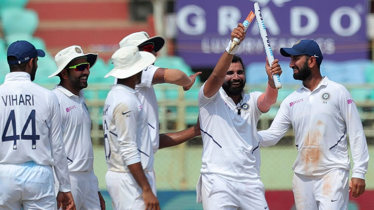 Mohammed Shami took 5-35 as India beat South Africa by 203 runs in the first Test on Sunday.